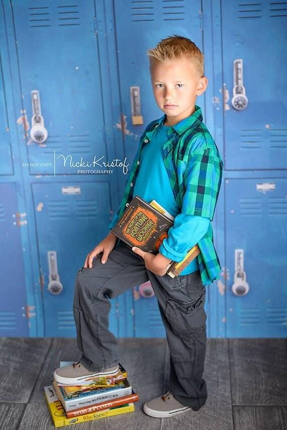 7ft x 5ft School Locker Photography Backdrop Blue Lockers