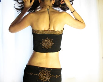 Lotus flower top. Mini pixie lace top. Tube top. Festival top. Sacred geometry top. Om top, burning man top, lace top