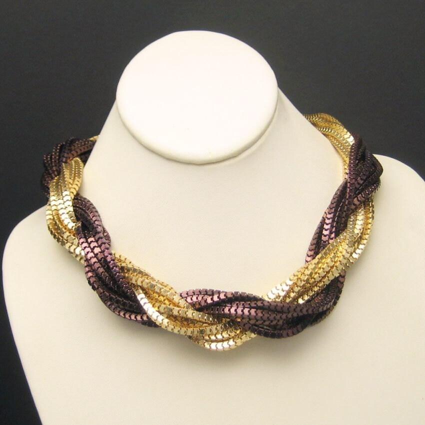 Torsade Necklace: Vintage Torsade Necklace Mixed Metals 2 Colors Multi 14 Strand