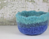 Vintage Blue Felted Bowl