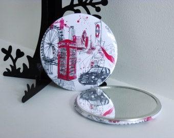 London Hand Held Mirror, Art Print, City, London Print, London illustration, London Gift, Mirror