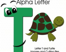 Alphabet Letter T and Turtle - Digital Images and Cutting Files for Scrapbooking and Paper Crafts