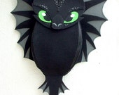 Backpack Toothless - funny, cute black dragon - felt - wings - for fan - how to train your dragon - MADE TO ORDER