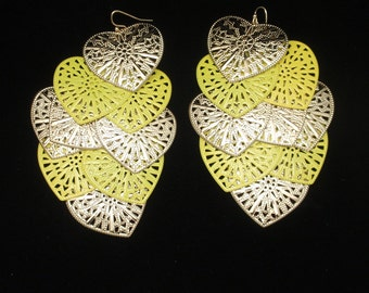 "Lightweight 4"" Earrings with Nine Hearts on Each Vintage"