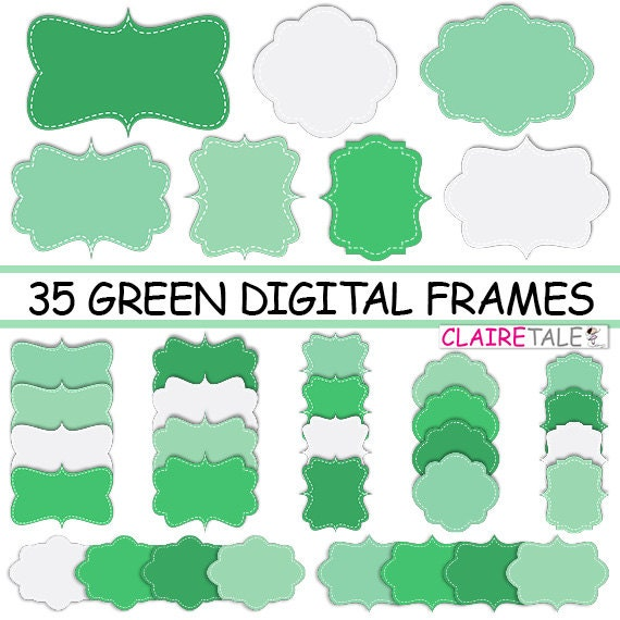 "Digital clipart labels: ""GREEN DIGITAL FRAMES"" clipart frames, labels, tags for scrapbooking, cards, invitation, stationary, albums"
