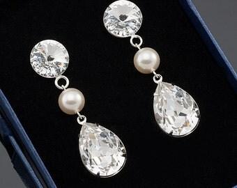 Swarovski Bridal Earrings, Crystal and Pearl Earrings, Bridal Post Earrings, Bridal Jewelry, Wedding Jewelry, Crystal Evening Earrings