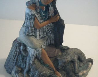 NATIVE AMERICAN INDIAN Princess with two wolf cubs