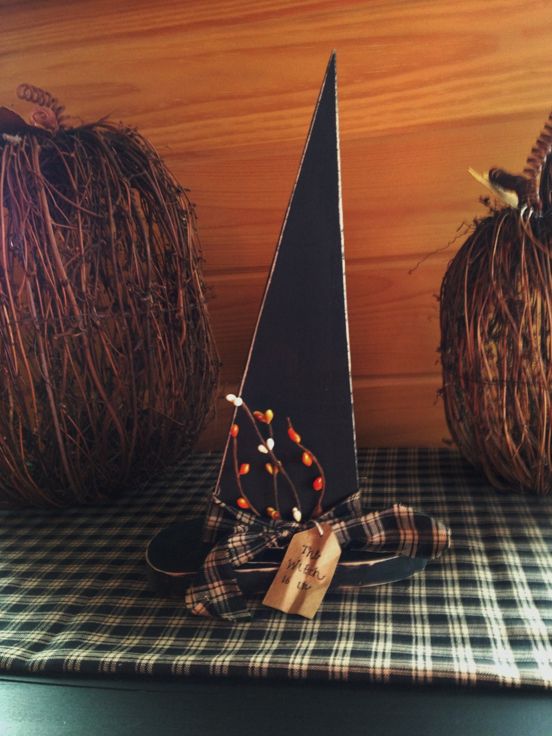 Primitive wooden witch hat halloween decor fall