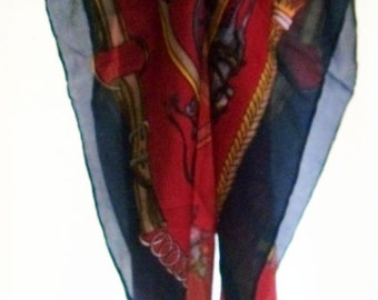 Vintage Scarve.100% Pure Silk. Navy / red.