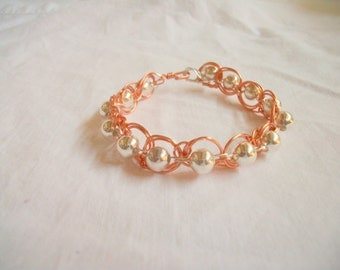 Wire Weaving Handmade Silver Beads and Copper Silver Wire Bracelet Great Birthday, Mothers Day, or Anniversary Gift