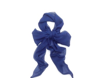 extra long Navy blue silk chiffon neck bow or sash