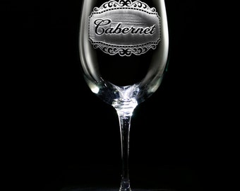 Engraved Cabernet Wine Glass