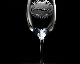 Engraved Chardonnay Wine Glass