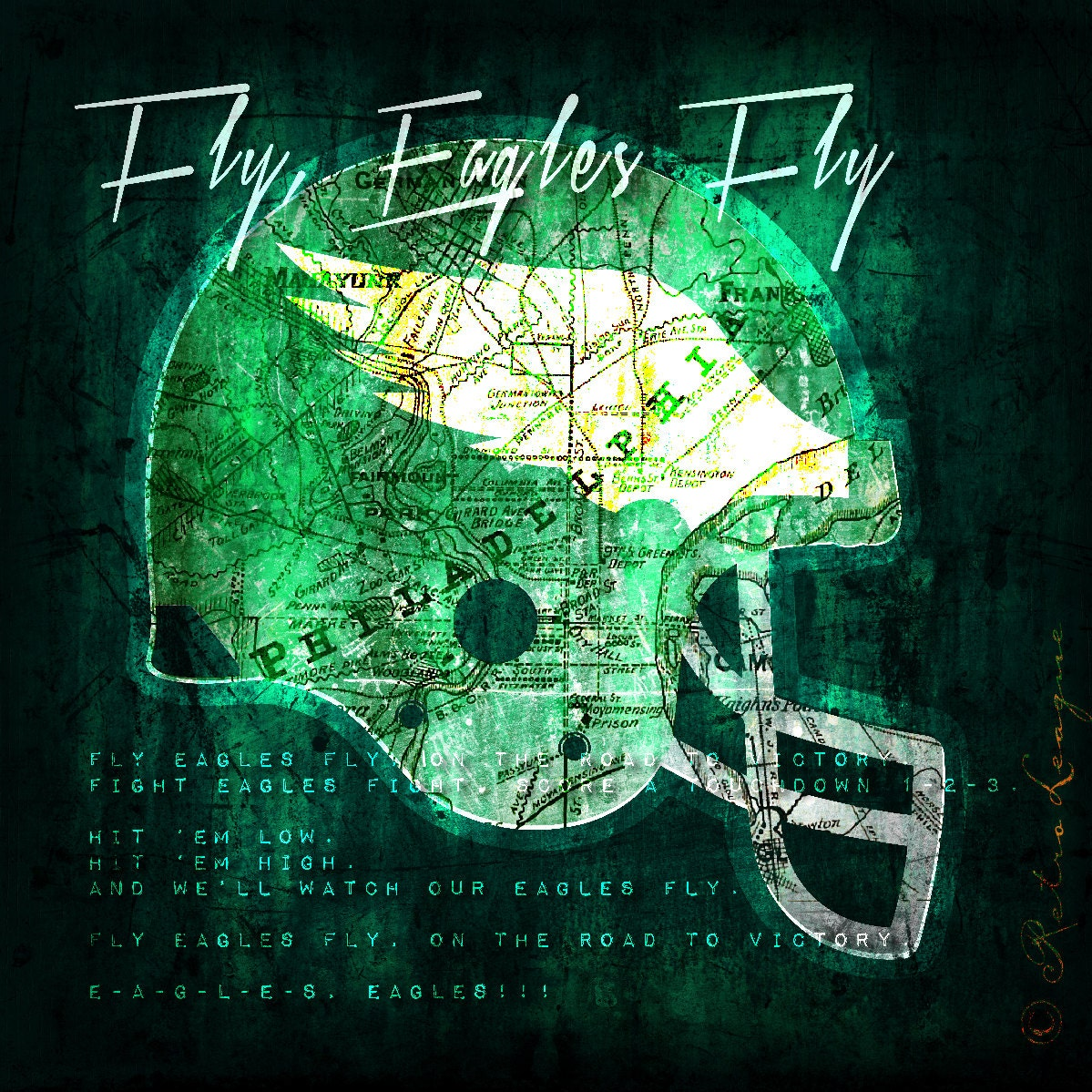 Philadelphia Eagles Retro City Map With Fight Song Perfect