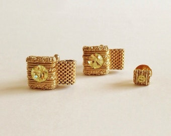Vintage SWANK Gold & Pale Green Stone Cuff Links and Tie Pin
