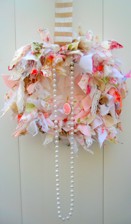 Shabby Chic Wreath Rag Wreath Fabric Wreath Pink Decor