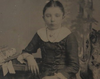 Original 1880's Cute Young Girl Alongside Her Bonnet Tintype Photograph - Free Shipping