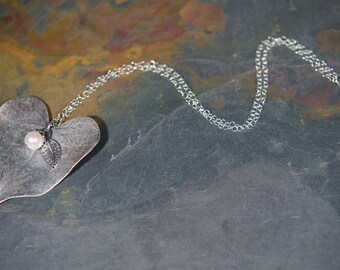 All Seasons Real Sterling Silver Large Heart Shaped Leaf Necklace With Pearl Accent