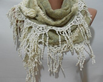 Cozy Winter Scarf Ascot Neck Warmer Beige Scarf Shawl Women Fashion Accessories Holiday Christmas Gifts For Her Gift For Women Warm Scarf
