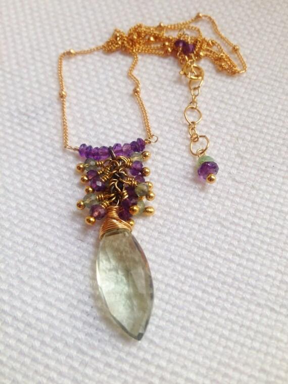 Prasiolite (Green Amethyst) Briolette Necklace Purple Amethyst Cluster Gold Filled Satellite Chain August birthstone
