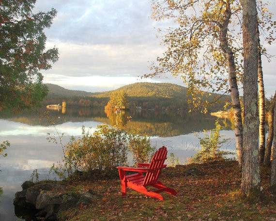 Chambre 8x10 Of Red Adirondack Chair Photograph Lake Landscape By Njsimages