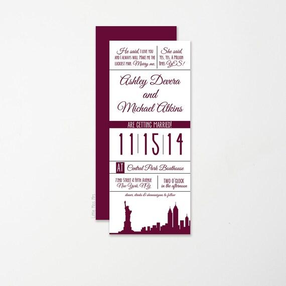 Skinny Invitation // Skyline Silhouette // any color, any skyline!