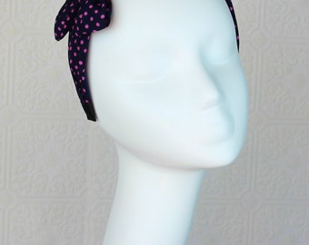 Bow Headband: Pink Black Headband - Polka Dot Headband - Chiffon Headband - Cute Headband