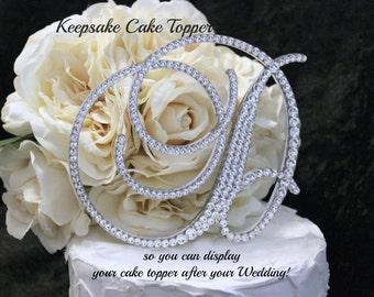 "5"" Monogram Wedding Cake Topper Initial Cake Topper Monogram KEEPSAKE Swarovski Letters A B C D E F G H I J K L M N O P Q R S T U V W X Y Z"