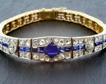 Art Deco Sapphire Bracelet - Antique 1920s Sapphire & Diamond Art Deco Bracelet