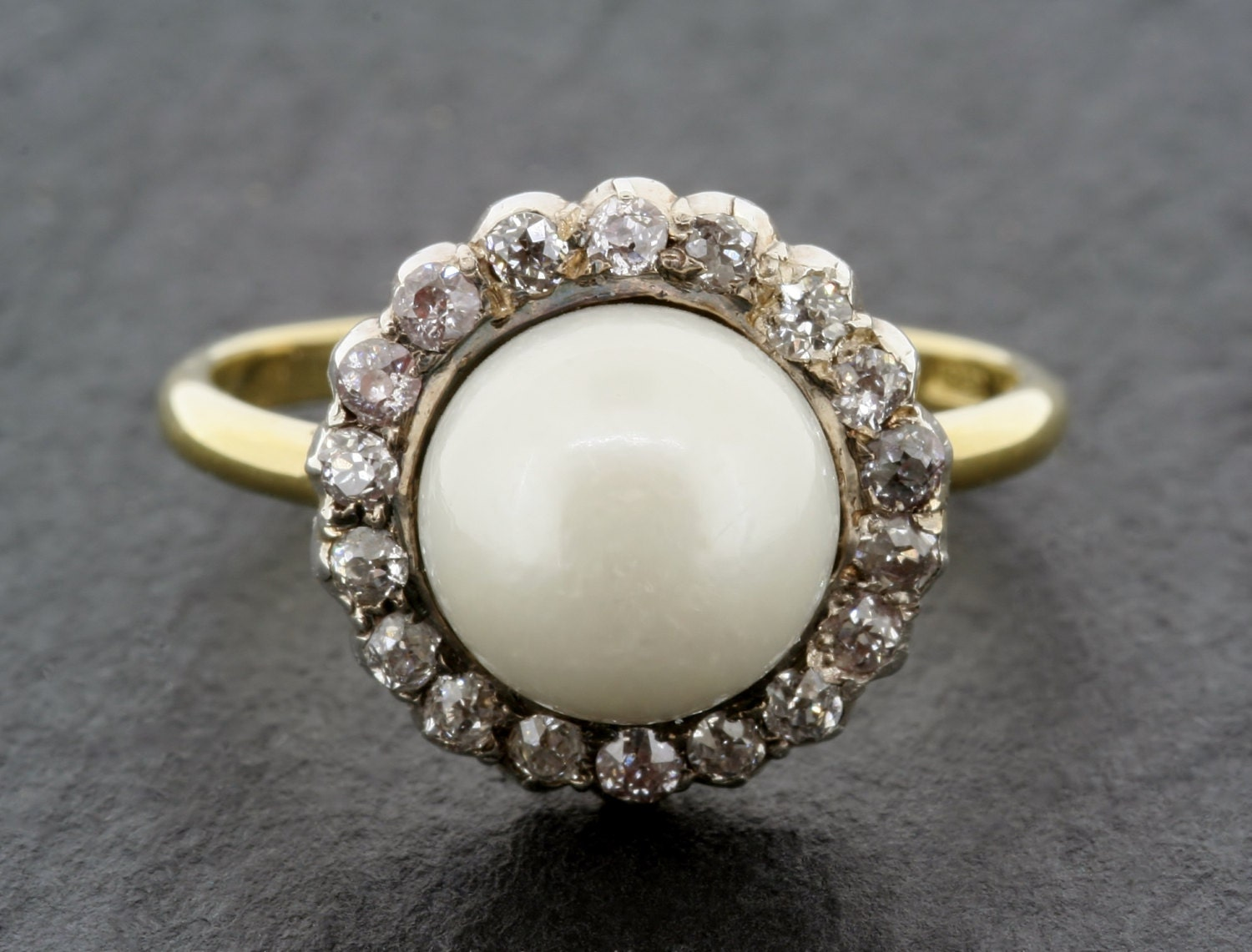 Antique Pearl Engagement Ring Victorian Pearl & Diamond 18ct