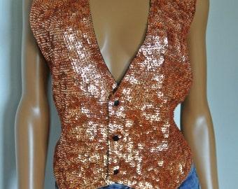 1990s Deco Sequins Encrusted Trophy Vest Bronze Glitzy Glamour Party Vest/ S