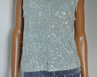 1960s does 1920s Deco Sequins Dress Party Top Mint blue pure Wool Sleeveless/S/M