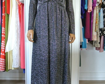 1970s Disco Dress Silver Metallic Gown Maxi Old Hollywood Glamour/ M