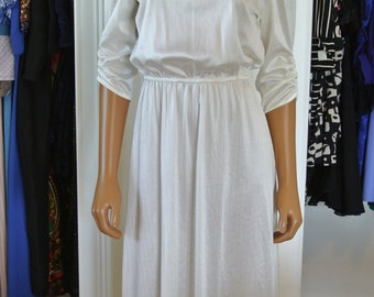 1970s Ivory White Disco Dress Bridal Wedding Day Dress City Hall Wedding/ Small