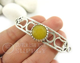 Dark Yellow Jade Gemstone Curved Bar Bracelet Focal Connector, Tulip Fretworked Antique Silver Plated Turkish Jewelry