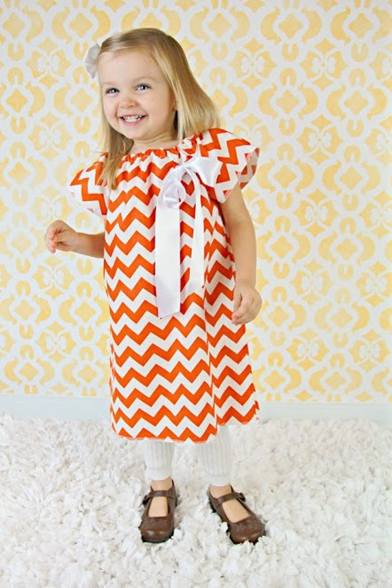 Fall Baby Dress-Orange Chevron Dress, Fall Baby Clothing, Thanksgiving Clothing, Football Dress, Fall Baby Outfit, Holiday Fall Dress