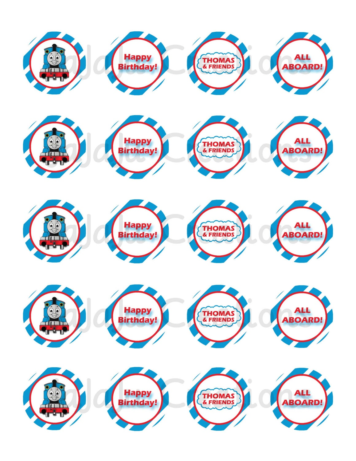 This is an image of Fan Free Printable Thomas the Train Cup Cake Toppers