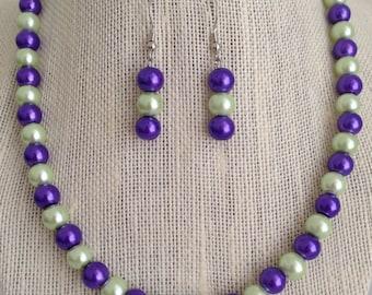 Purple and Mint Green Bridesmaid Wedding Jewelry, Purple and Green Wedding, Bridesmaid Gift, Purple Beaded Jewelry, Purple Green Necklace