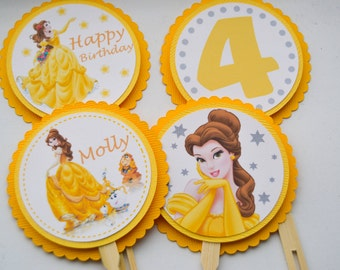 Princess Cupcake Toppers, Belle, Set of 12