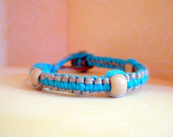 Bright Colored Blue and Gray Embroidery Floss Bracelet