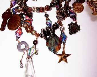 Vintage Tribal Necklace Composed Of Beads, Charms & Trinkets