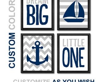 navy and gray nautical nursery, dream big nursery decor, navy and grey nursery nautical, anchor baby boys room art, nautical kids wall art