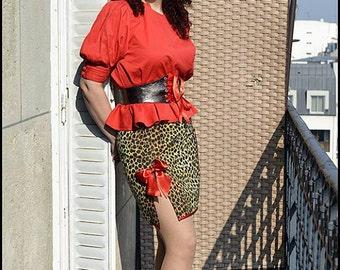 Pencil skirt leopard printed