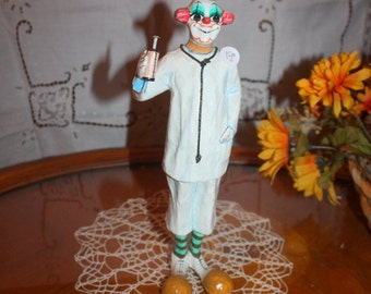 Vintage Hand Painted  Uribe Mexico signed Paper Mache Doctor Clown with Hypodermic Needle