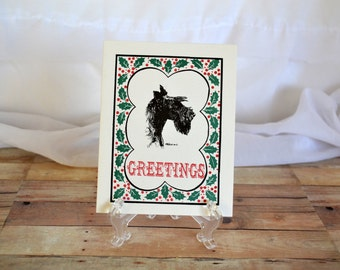 "Scottish terrier ""Seasons Greetings"" Holiday/Christmas card w/ envelope"