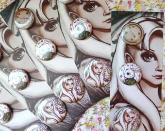 Alice in Wonderland button pins, original illustration, wonderland pin, wonderland pinback, wonderland gift, white rabbit, tea party