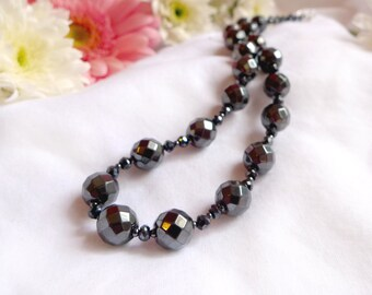 Hematite statement necklace with 925 sterling silver *Free worldwide shipping*