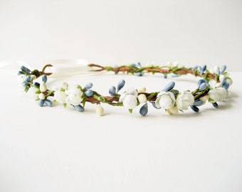 Flower crown, Blue floral crown, Blue wedding flower headpiece, Bohemian wedding crown - SNOWDROP