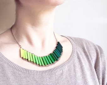 Ombre Pendant Necklace // LIME // Minimal Jewelry // Green Hand-Painted Necklace // Wood // Geometric // Minimal Necklace / Modern Necklace