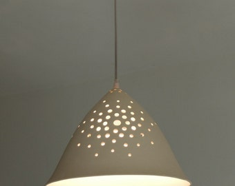 """10"""" Hanging lamp, ceramic lamp, Pendant lighting, Lighting, Ceiling light, light fixture, Hanging light fixture, cone shaped,"""